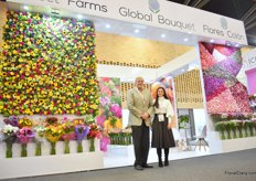 Steve Rosenbluth and Laura Salcedo of Global Bouquet. At the show, they presented four flower walls that all together represent what they are doing. The first wall on the left represents their miss bouquets, the wall on the right the Novelty Dianthus, including raffine and solomio – of which they are one of the largest growers. The other wall represent all other products they grow and the Nobbio collection of SB Tallee, and particularly the novelties in this collection. Besides all these varieties they grow, they are also experimenting with tinting carnations.