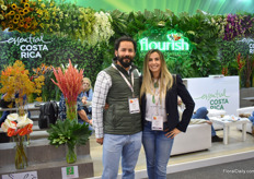 Sergio Madrigas and Anita Arias of Essential Costa Rica – a brand (for which a grower need to apply) that promotes Costa Rican product. Flourish is the association of flower and foliage growers. They (6 growers) work together in sharing agricultural practices and marketing.  They consolidate their shipments and therefore can offer a wide product list.