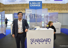 Marco Amador Frieri of Port Miami at the booth of Seaboard, the shipping line that brings the most cargo (fruits and particularly flowers) from Colombia. Over the years, the amounts increased sharply. More on this later in FloralDaily.