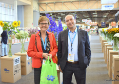 Loes Beelen and Abdel Moussa of IAA Fresh were also visiting the show. They stand in front of the  flowers that were put up for nomination.