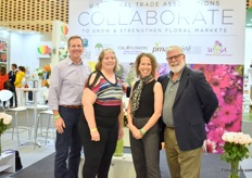 Part of the team of the US Association booth, fltr: Christopher Drummond of SAF, Christine Boldt of AFIF, Kate Pen of SAF and Michael LoBue of CalFlowers.