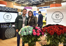 Jordy Tucker and Viviana Guanulema of Agrinag. This Ecuadorian farm produces fresh roses, tinted roses, spray roses and alstroemerias.