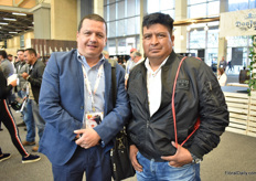 Adrian Moreno and Marco Vinueza of Rancho San Jorge, an Ecuadorian rose grower, were visiting the show.
