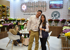Alejandro Londono and Ana Zapata of Flores del Lago. They grow chrysanthemums, hydrangeas and coloured callas and their main market is the US and Canada.
