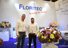 Ruud Smit and Juan Naranjo of Floritec. For the first time, they are exhibiting at the Proflora and they are showcasing 30 new varieties in santini and sprays (all tested in Colombia). Soon, they will introduce new material, including some disbud varieties for the Colombian market. These varieties will be on the market commercially in 2020.