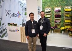 "John Bedoya and Miguel Vasquez of Grupo Vegaflor. They recently started to grow the Kalanchoes of Danziger. ""We are now the only ones producing them in Medellin."""