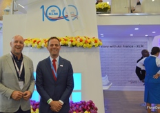 Jeroen Oudheusden with FSI (Floriculture Sustainable Initiative) together with Jeroen van der Hulst, KLM. The Dutch airlines company celebrates it's 100th anniversary, which was commemorated with a major party welcoming around 300 guests.