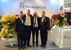 HilverdaKooij, soon to be HilverdeFlorist due to merging with breeder of gerbera Florist Holland, is one of the suppliers of starting material to the Colombian growers (notably alstroemeria). From left to right Alexander Osorio, Marius Kooij, Daniel Tellez, and Jorge Calderon.