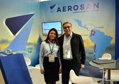 Aerosan does all sorts of cargo handling, from flowers to animals to passenger luggage. The Ecuadorian based company is represented by Maria Galindo and Freddy Guerra.