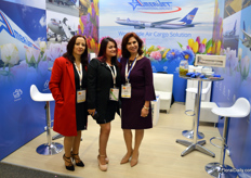 AmeriJet has been in Colombia since 2005, and offers cargo shipping services by road, air, and sea. At the photo Maritza Martinez, Katherine Prieto, and Gloria Clemencia.