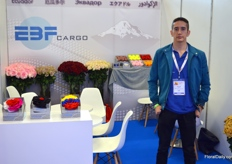 Fernando Brito with EBF Cargo, an air fright agency from Ecuador. In its wake, Ecuadorian rose grower Bella Rosa also participated in Proflora.