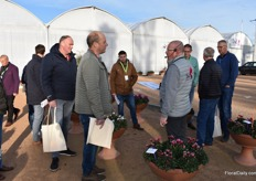 Johan Huisman of Morel showing the group the outdoor varieties. The plants have been planted half October and are being checked on a weekly basis.