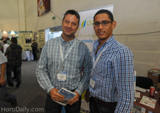 Chris Binfield and Marco Hurtado from Meras Engineering in front of the HortiDaily booth.