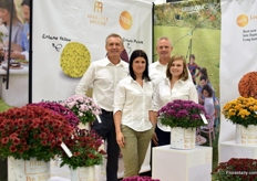 The team of Belgian breeder of ball-shaped chrysanthemums Gediflora. F.l.t.r. Bennard Chodyla, Elien Pieters, Rene Den Hoed and Isaura Voet.