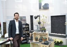 Yves Durrer of Dynco, a Swiss suppler of natural stone products. This year, it is the first time that they are exhibiting at the Floradecora.