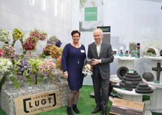 Jolanda van der Lugt of Van der Lugt Lisianthus and Chris Martens of Smither-Oasis. They are presenting their products for the third time during Christmasworld and for the second time at Floradecora. Van der Lugt was very pleased with last years edition as they received many orders of wedding planners after the show.