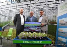 Hugo Paans, Piet Rutten and Cock van Bommel of Erfgoed. During the FlowerTrials, they are presenting their eb and flood floors. These floors enables growers to better irrigate the plants and to control the climate.