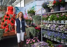 Fleur Longway of Florensis at her Garden center. At Florensis, the timelife of Fleur Longway was presented. Every important phase of her life was represented with flowers; 'Moments in Life'. This is the garden center of Fleur.