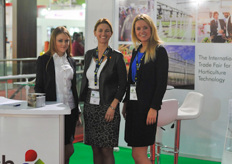 Also the GreenTech Amsterdam was present to inform exhibitors and visitors about their event ; from l-r : Ulyana Tarasyuk, Mariska Dreschler and Jeanette den Boer.