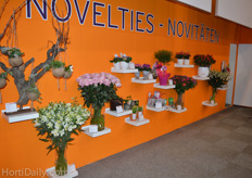 The 'novalties-wall' at the booth of FloraHolland.