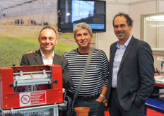Urbinati's Alessandro Mazzacano and Loris Gallo with their Israeli customer Avakrat Hanania of Shorashim in the middle.
