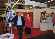 Bas Pot and Marja Brouwer, NP Plastics. Bas found their label sticks all around the trade show.